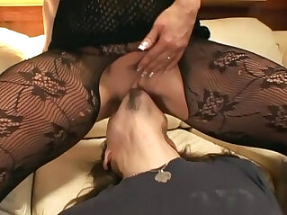 12:29 - Pantyhose face sitting and oral sex on a couch -