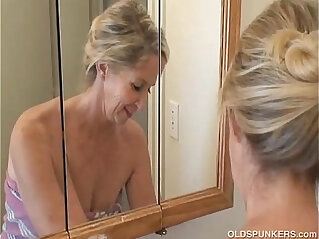 6:02 - Gorgeous granny has a shower -
