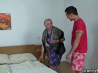 7:25 - Moaning granny rides young rod -