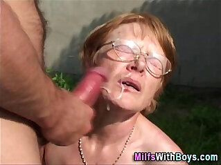 10:54 - Granny In Glasses Face With Cum -