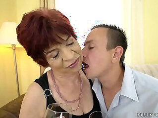 6:24 - Granny enjoys to ride on a young dick -