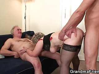 6:28 - Cock hungry granny enjoys two dicks -