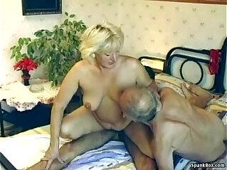7:53 - Hairy granny enjoys threesome -