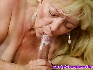 6:28 - Saggy grandma receives cum in mouth -