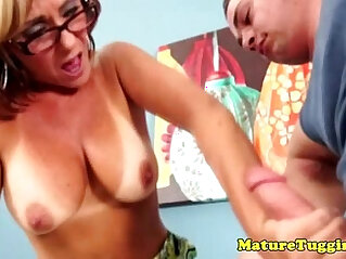 7:12 - Blonde mature jerking hard big cock -