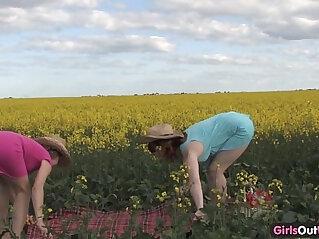10:02 - Natural lesbian girls on a canola field -