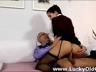 5:09 - Cute blonde babe in stockings fucks older british guy -
