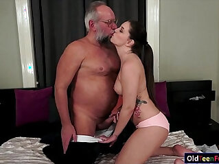 6:16 - Cutie Angelina Brill gives her head to a grandpa and rides cock -