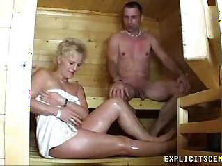 8:43 - Milf fucking in the sauna ends with creampie -