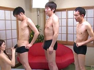 6:20 - Subtitled cfnm Japanese AV star Mona Takei blowjob lineup -