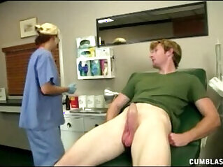 5:03 - Horny doctor takes advantage of her patient by stroking his hard cock -