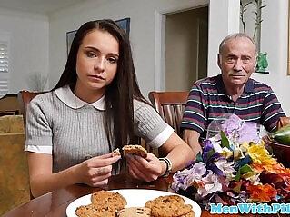 7:15 - Petite 18yo teen slut sucking oldmans cock -
