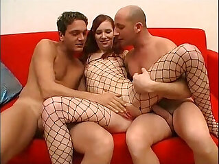 22:34 - Threesome for this bitch in a fishnet -