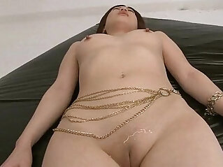 5:55 - Horny guys oil up Rikos shaved pussy and finger it -