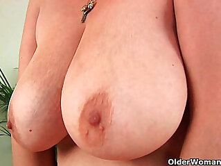 5:36 - Hairy grandma with nice tits solo with a dildo -