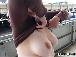 6:34 - Redhead Eurobabe flashes her big tits and fucked for money -