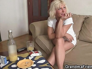 6:20 - Lonely granny swallows two cocks -