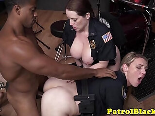 6:52 - Crooked femdom cops trio with black thug -