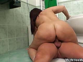 6:53 - Busty mom in law riding cock in the bathroom -