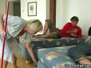 6:55 - Old cleaning woman takes two cocks -