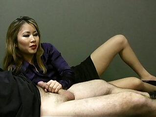 2:25 - Lucky employee gets a handjob from lady boss -