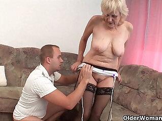 5:06 - Grandma in stockings gets a facial -