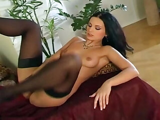 5:56 - Jilling off in black bra panties and stockings -