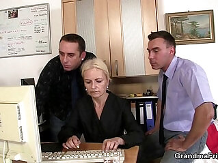 6:24 - Two dudes share old blonde in the office -