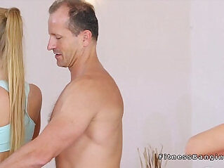 6:05 - Yoga babes banging in threesome in the gym -