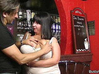 6:50 - Huge barmaid riding cock at work -