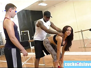 5:25 - Slutty wife and wimp hubby meet black studs -