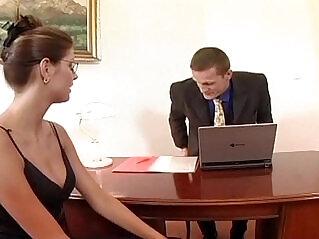 6:25 - Nerdy secretary sex in thigh high stockings -