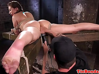10:11 - Busty bdsm sub tied up and pussy fingered -