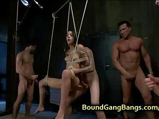 7:42 - Bound suspended babe double penetrated -