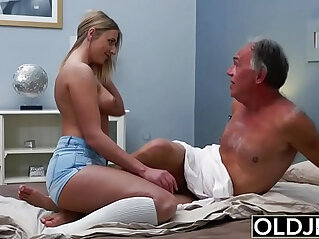 7:10 - Blonde amateur Teen babe gets Fucked By Hairy Old Man she loves getting sex blowjobs and cum -