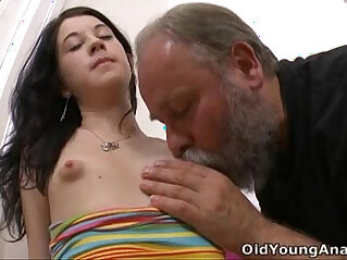 5:48 - Olga has her breasts licked by older man -