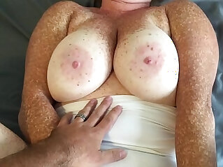 3:46 - Cumshot on panties and tits fucking redhead in white thong -