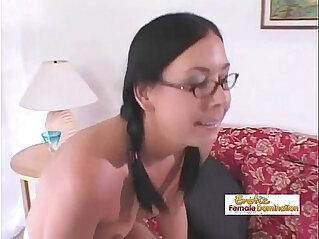 29:16 - Nerdy brunette deepthroats a dick before taking it up her ass -