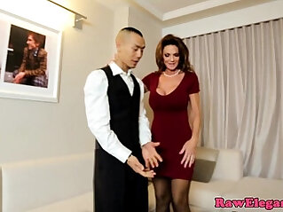 11:24 - Classy cougar fucking lucky room service guy -